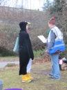 Race Director briefs the penguin