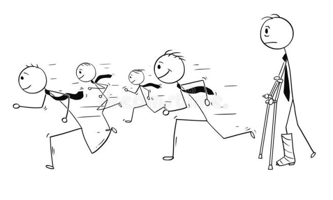 conceptual-cartoon-businessman-broken-leg-watching-healthy-running-businessmen-running-success-cartoon-stick-man-108629371